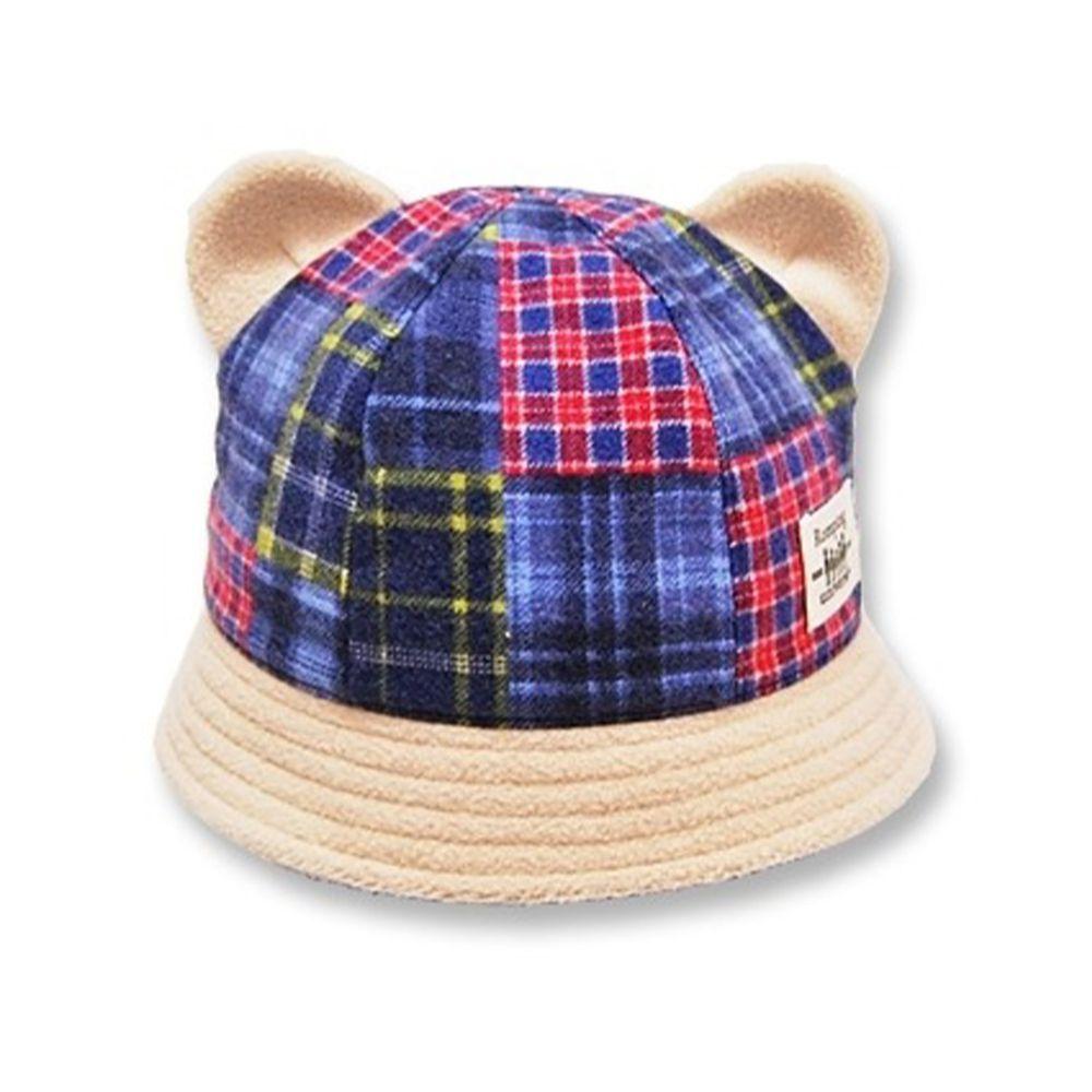 日本 Connect M - 日本製可愛冬帽-小童款-熊耳漁夫帽_紅藍格子-74-2006