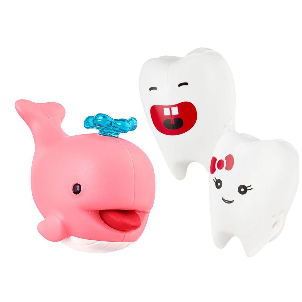 Flipper - 專利免觸碰開關牙刷架+小鯨魚擠牙膏器-牙刷+擠牙膏器-牙仙/粉紅小鯨魚