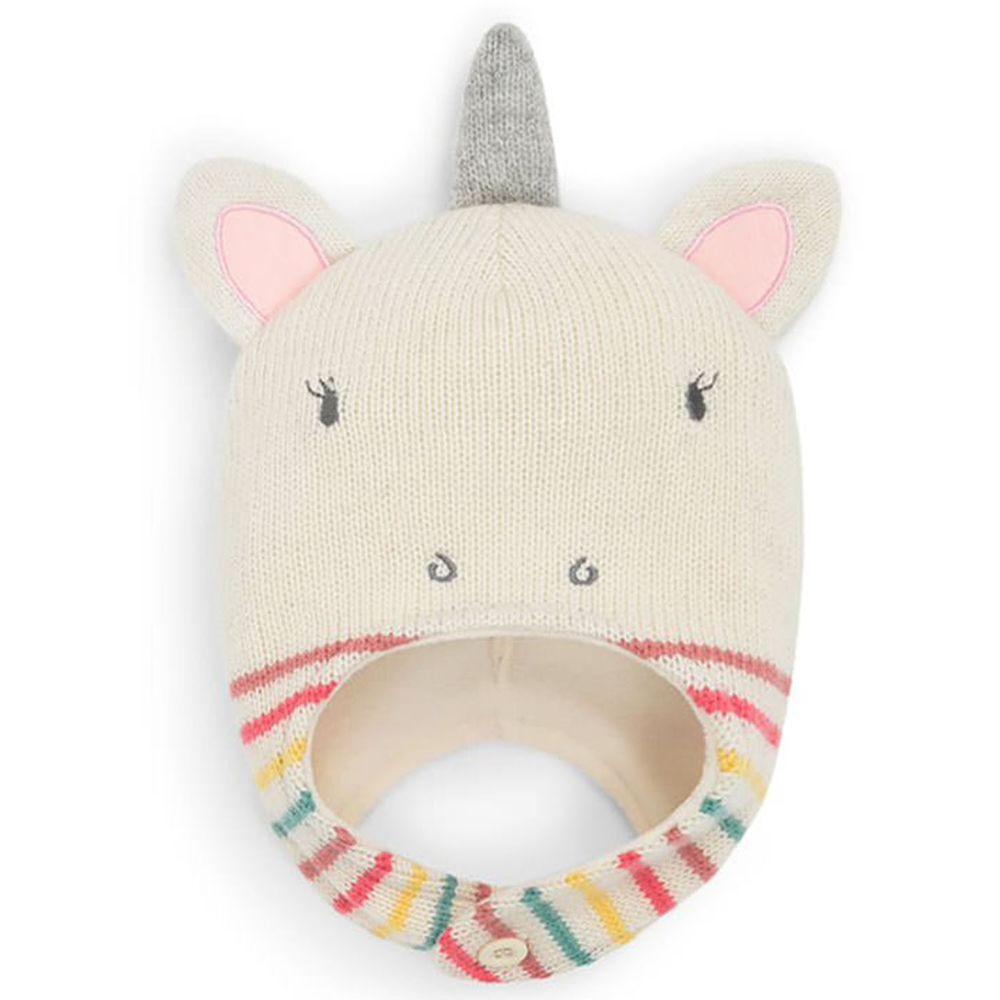 英國 JoJo Maman BeBe - 保暖舒適羊毛帽-條紋獨角獸
