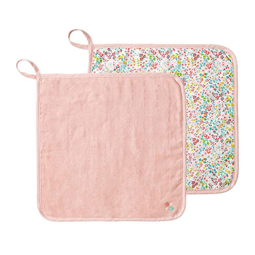 日本 Combi - mini系列-雙面用方巾2入-粉小花 (30x30cm)