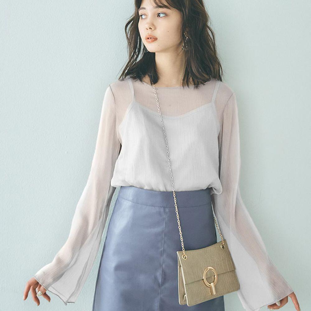 日本 GRL - 透感楊柳寬袖上衣X細肩背心-純白