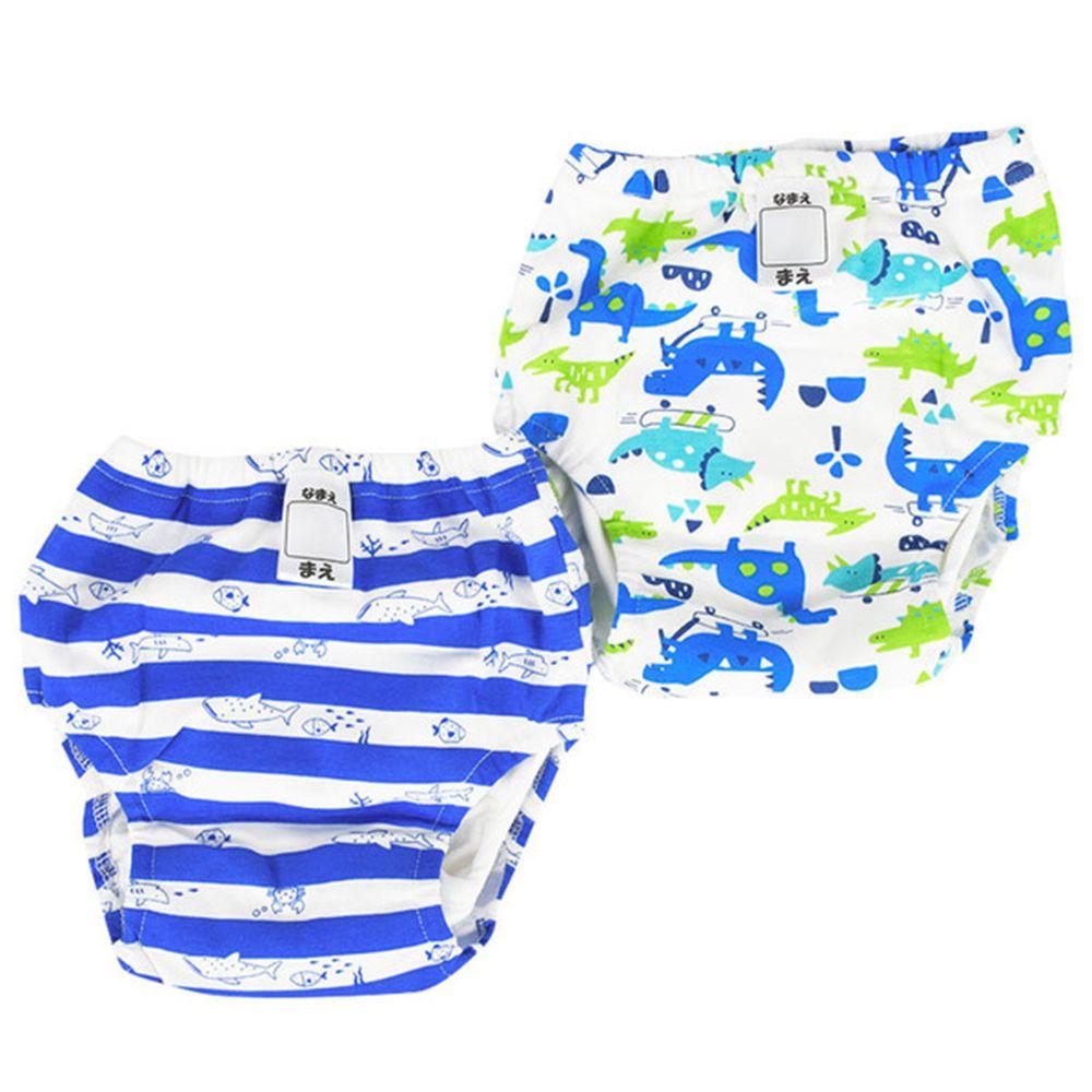 akachan honpo - 4層學習內褲2件組-恐龍×海洋-藍色