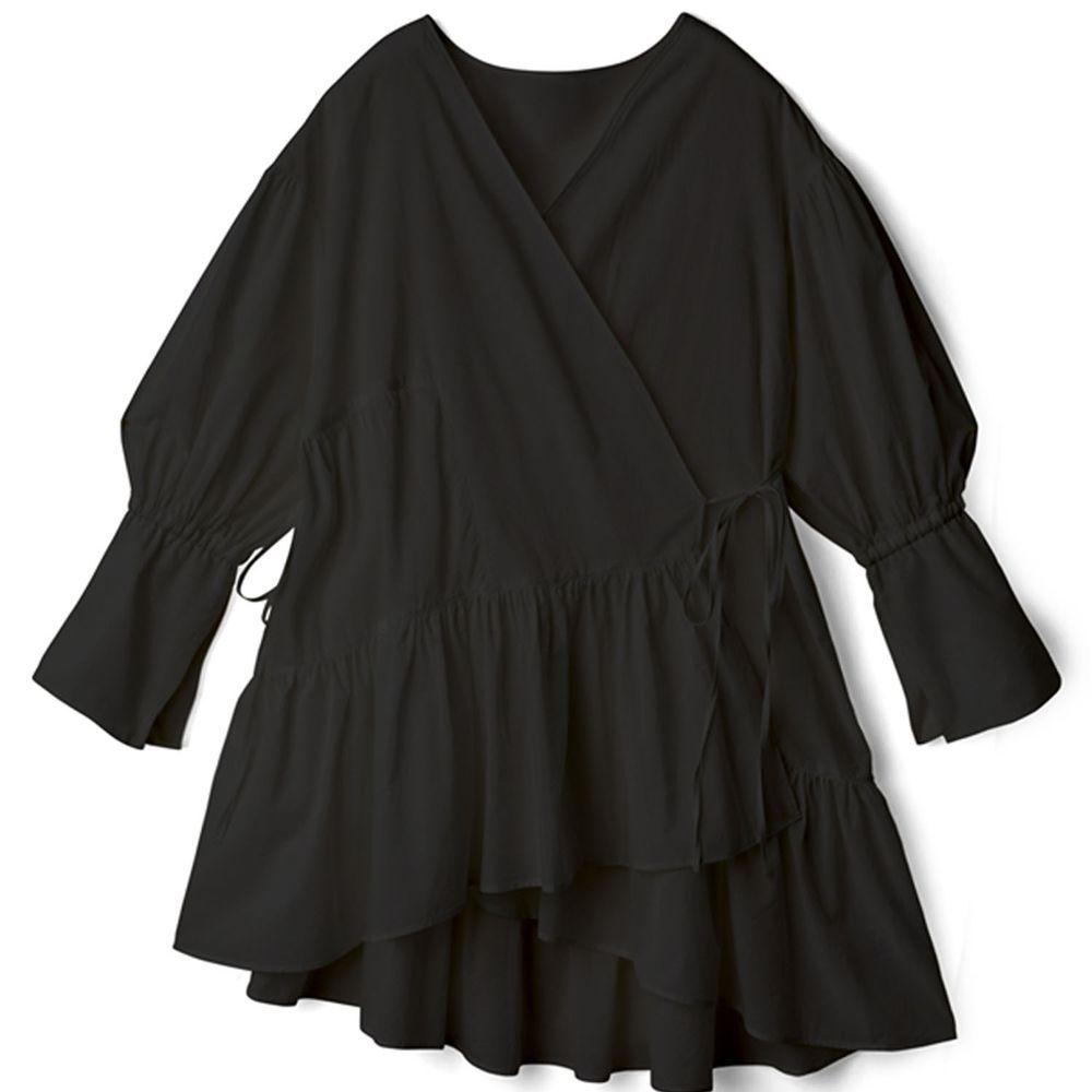 日本 GRL - 不規則剪裁荷葉邊七分袖洋裝-黑