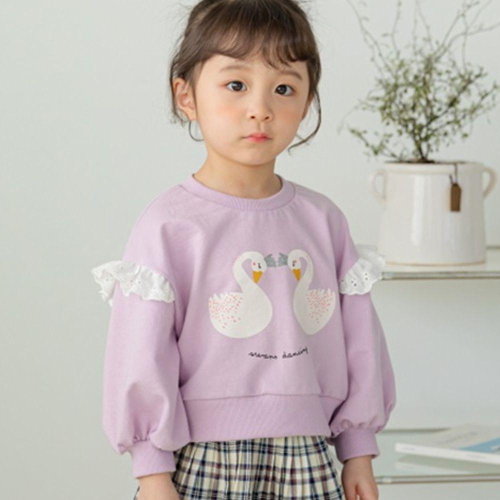 韓國 Orange Mom - 天鵝荷葉泡泡袖上衣-紫
