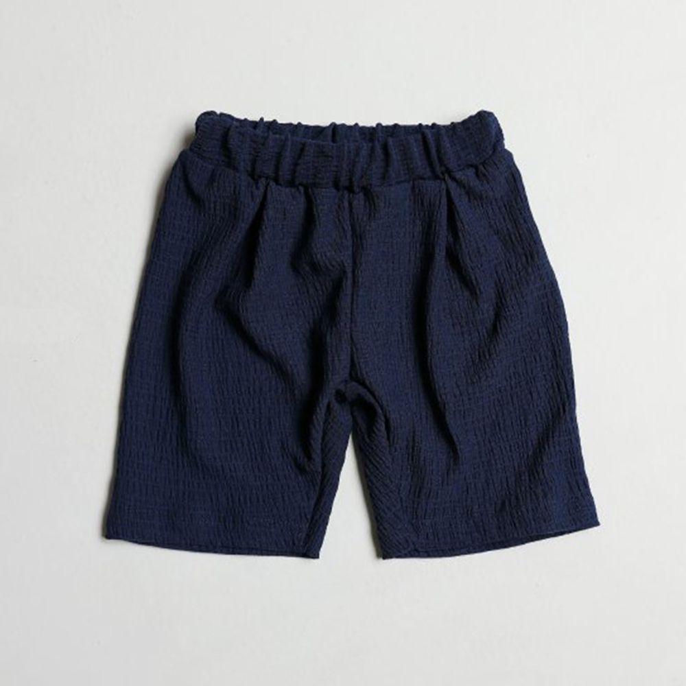 韓國製 - 皺摺感涼感短褲-深藍