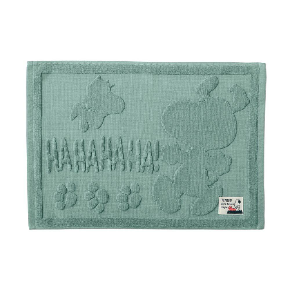 日本千趣會 - 史努比 純棉吸水立體剪影毛巾腳踏墊-HAHAHA-草綠 (43x60cm)