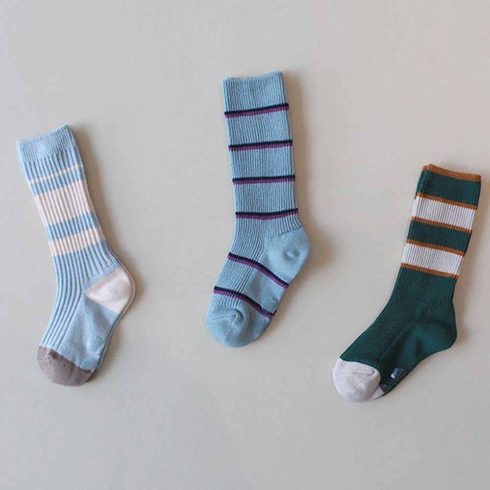 韓國 Kokacharm - 韓國製及膝襪-三件組-Sky