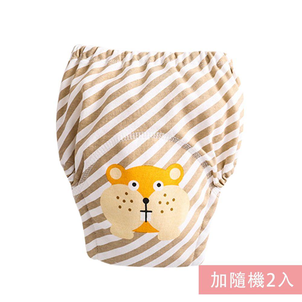 JoyNa - 純棉舒適四層紗3層學習褲-3件入-咖條土撥鼠+隨機2入