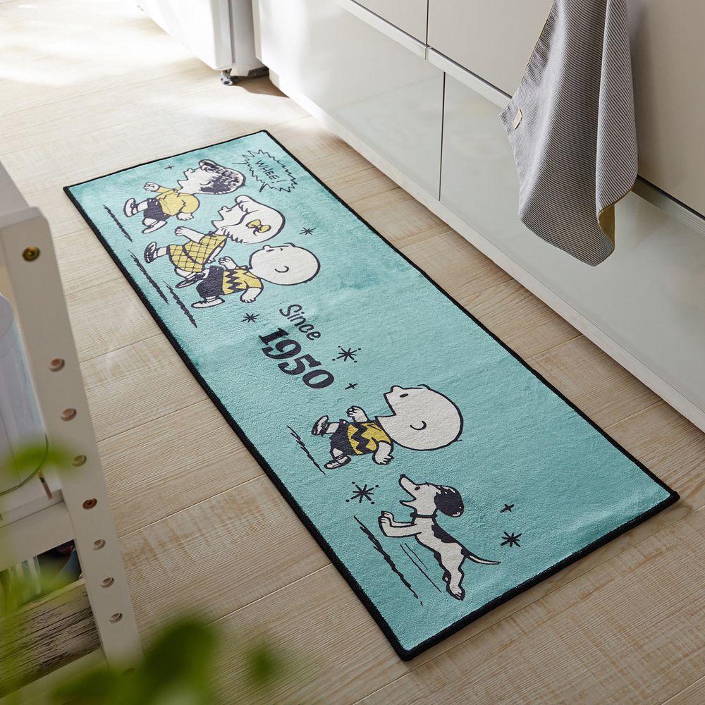 日本千趣會 - 史努比70週年限定款 長條型腳踏墊(廚房/臥室)-湖水綠
