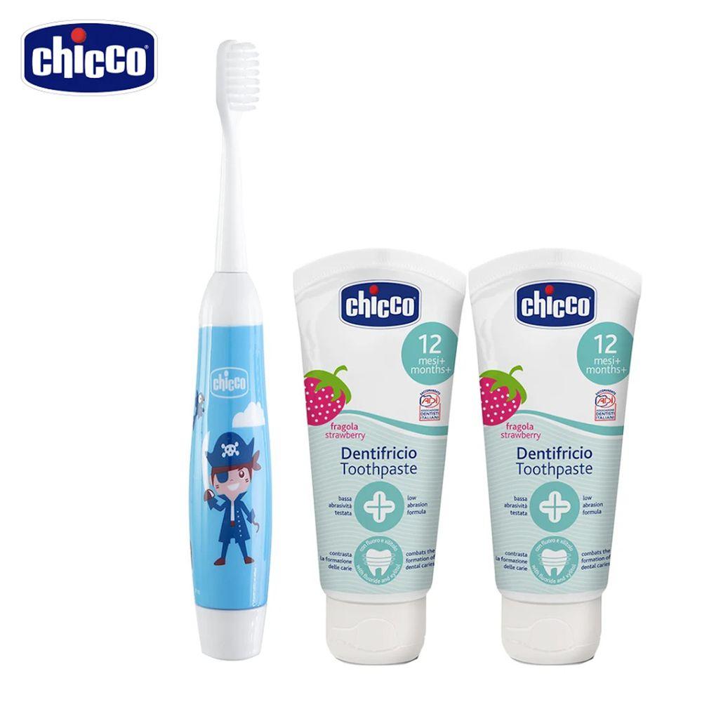 義大利 chicco - 兒童木醣醇含氟牙膏*2+電動牙刷(水果草莓+海盜船長)