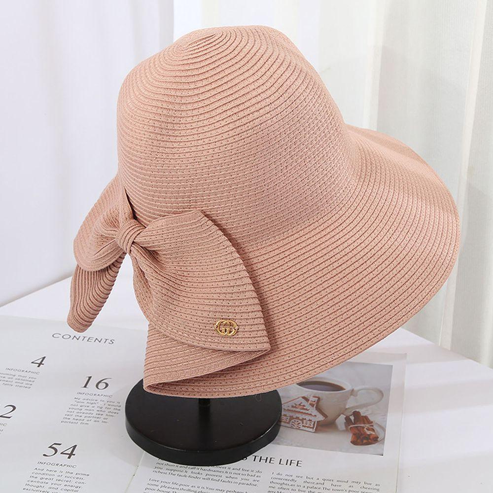 成人時尚大帽沿防曬草帽-蝴蝶結-粉色 (56-58cm)
