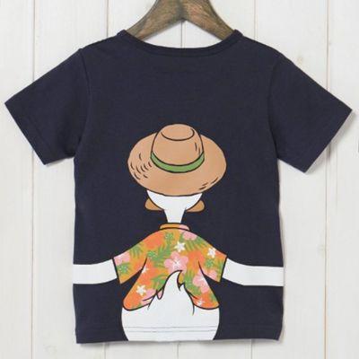 唐老鴨夏威夷衫抱抱純棉短袖T恤-兒童-深藍