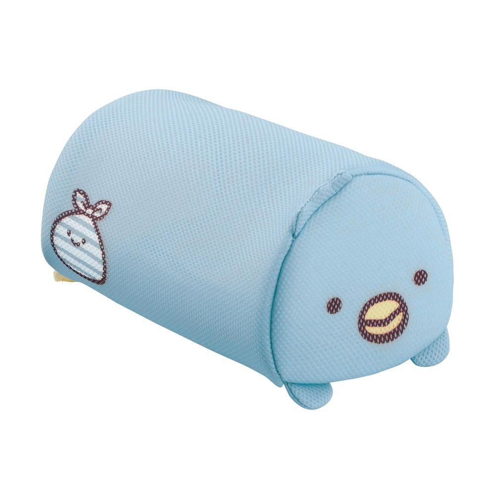 日本千趣會 - 角落生物 日本製圓筒洗衣網/衣物收納袋-企鵝與小裹布-藍 (16x26x14cm)