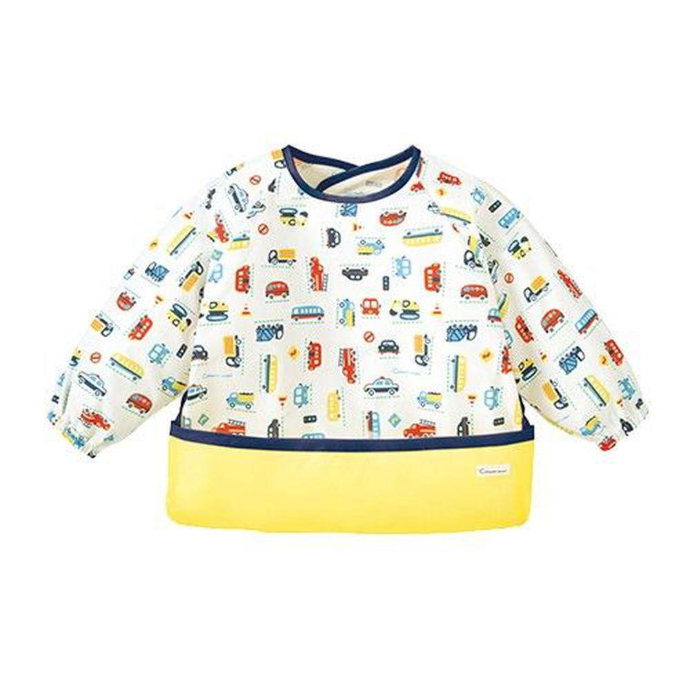 日本 Combi - mini 食事圍兜-長袖款-玩具車-奶油黃 (L [90-100cm])-12個月起