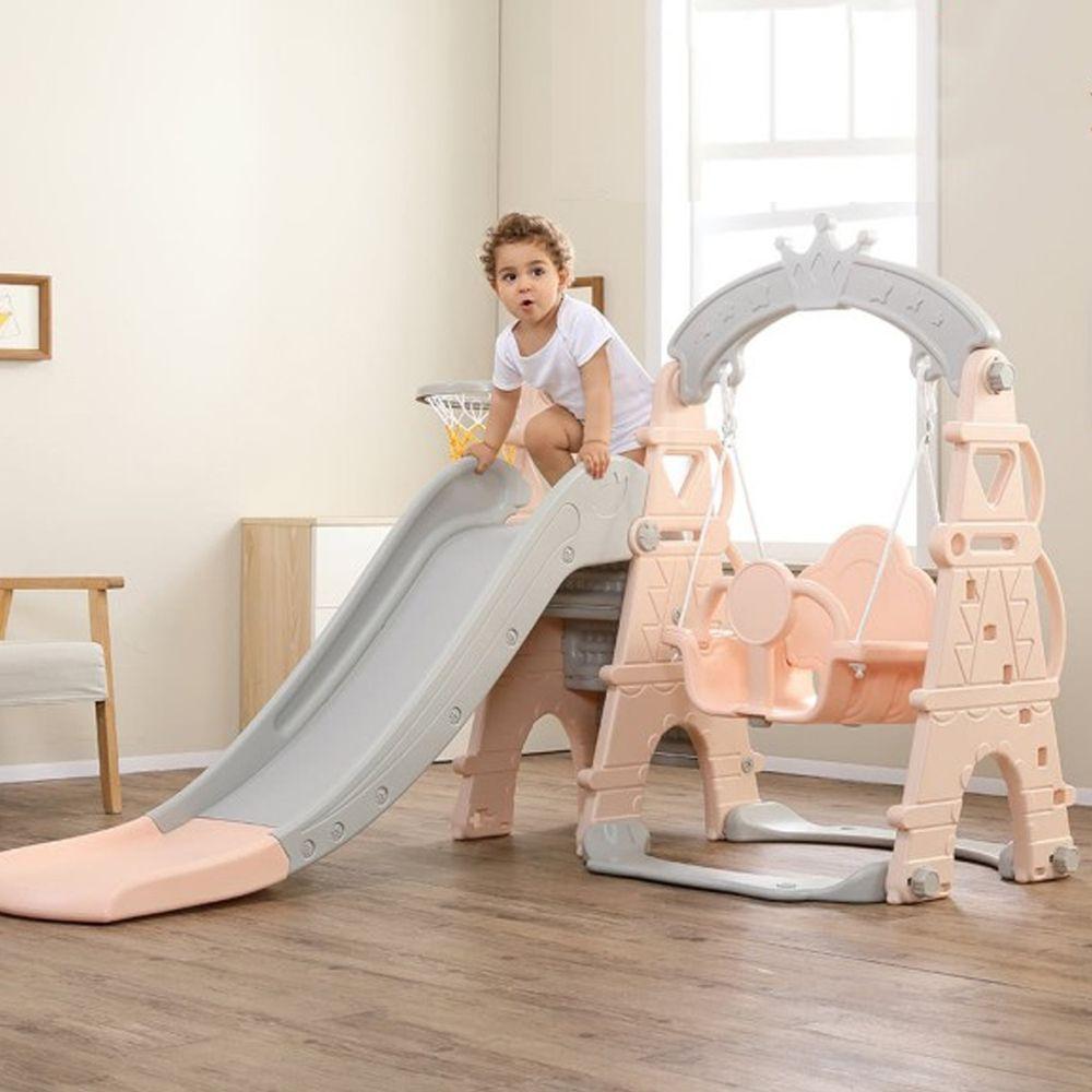 Phoebe - Phoebe巴黎鐵塔多功能兒童鞦韆溜滑梯組(附籃球框及籃球)-公主粉