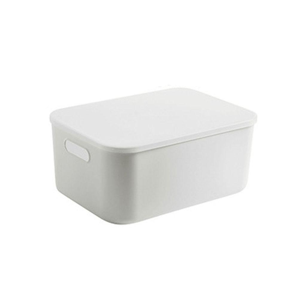日系簡約白色收納盒-加高款中號(36.5x26x16.5cm)-有把手