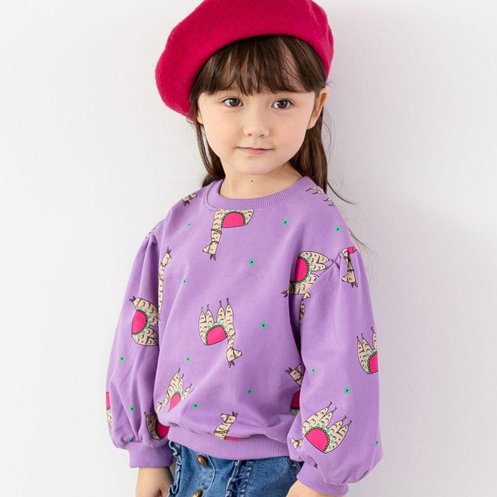 韓國 ERU - 駱馬泡泡袖T-紫