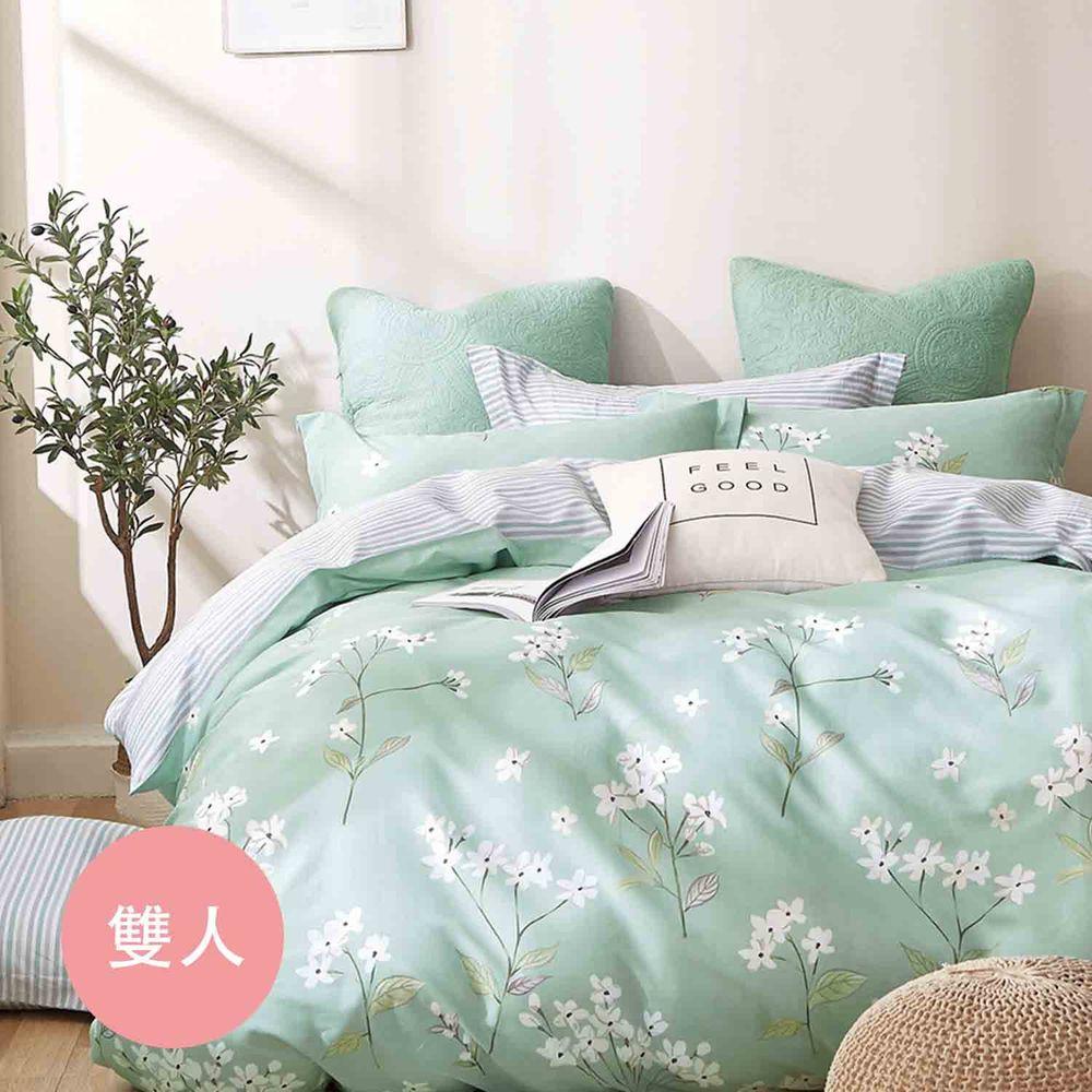 PureOne - 極致純棉寢具組-錦繡花期-雙人四件式床包被套組