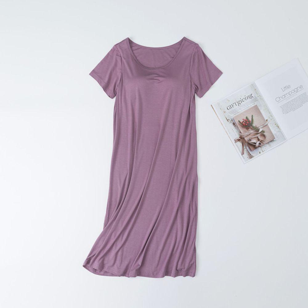 莫代爾柔軟涼感Bra T睡裙-豆沙紫