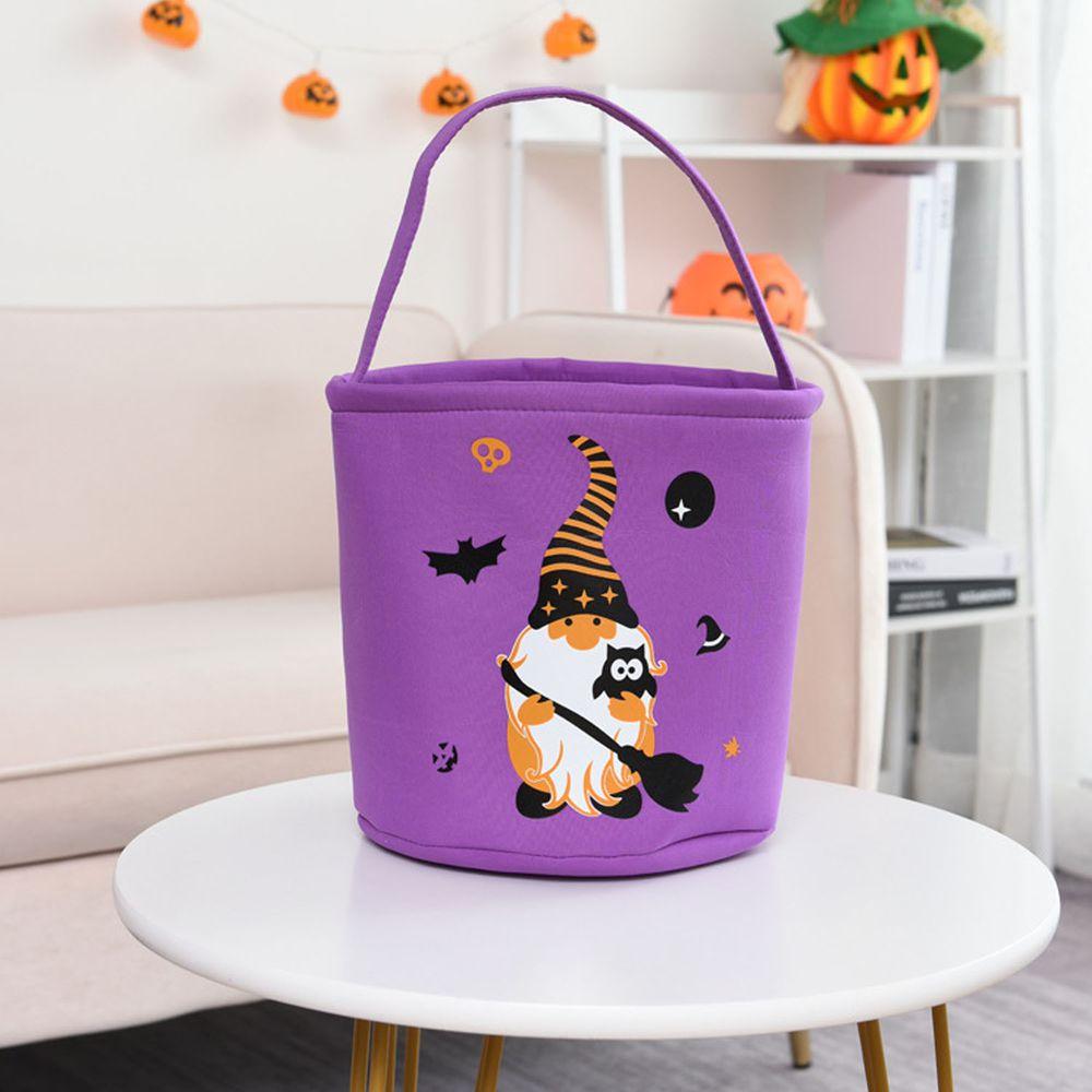 萬聖節糖果手提籃-巫婆-紫色