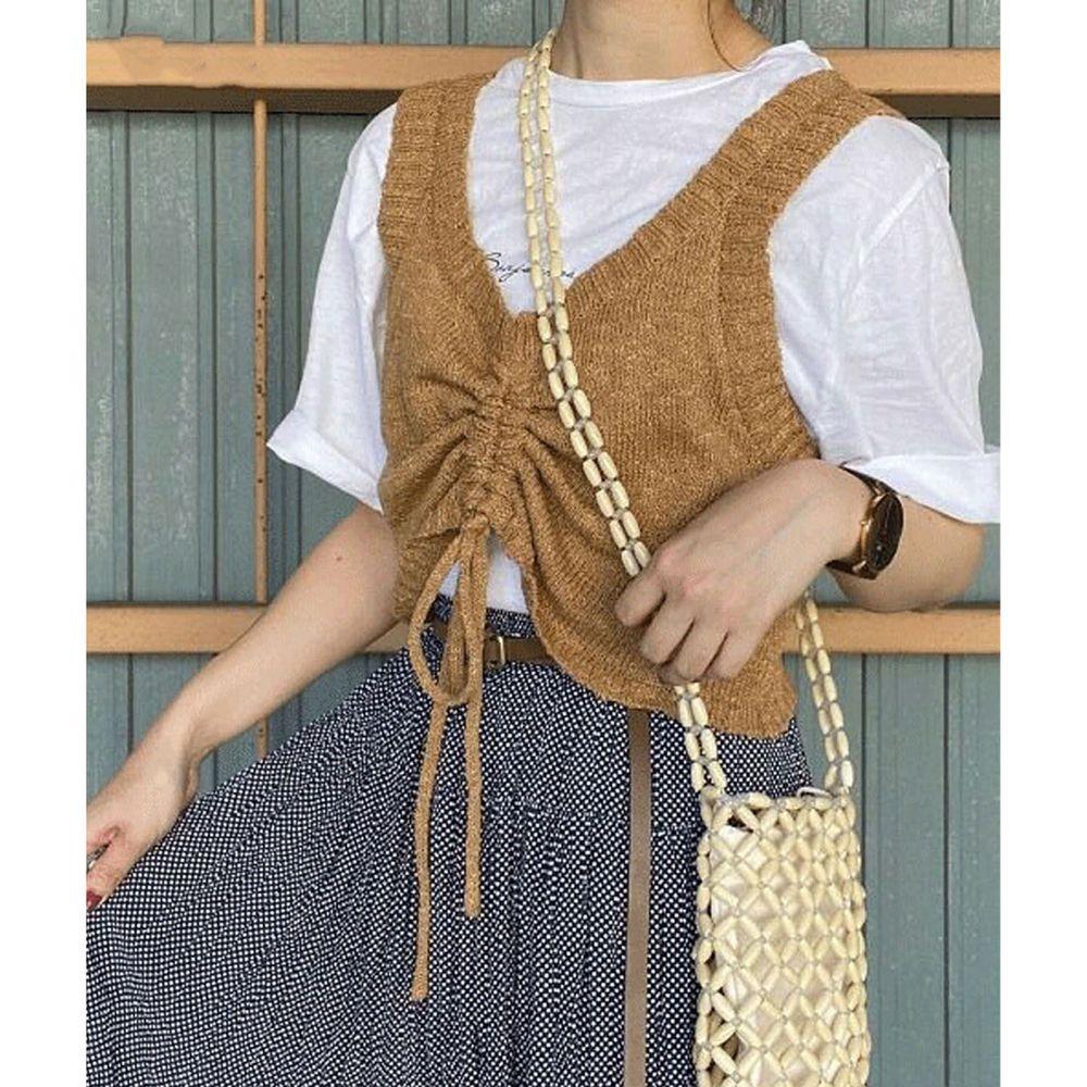 日本 Bou Jeloud - 抽繩設計V領針織小背心-咖啡