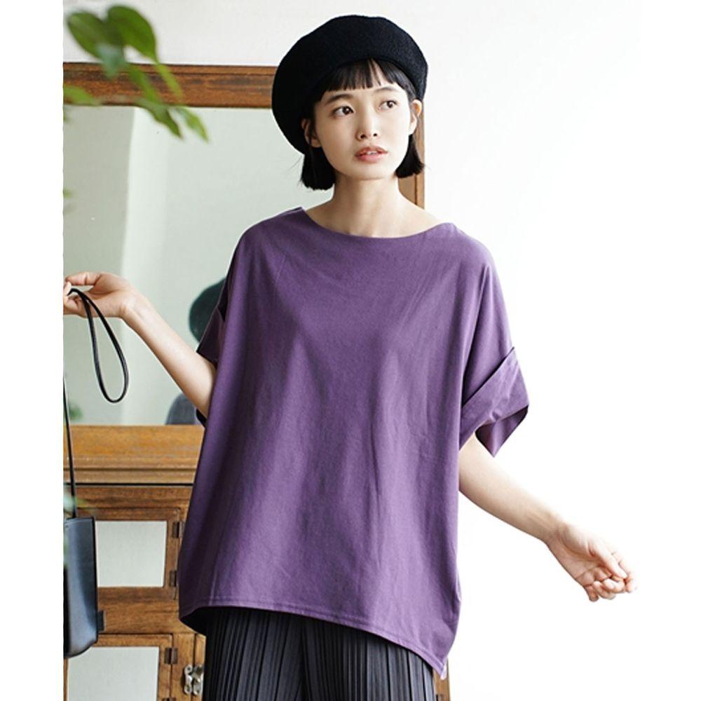 日本 zootie - Design+ 顯瘦立體感剪裁落肩五分袖上衣-深紫