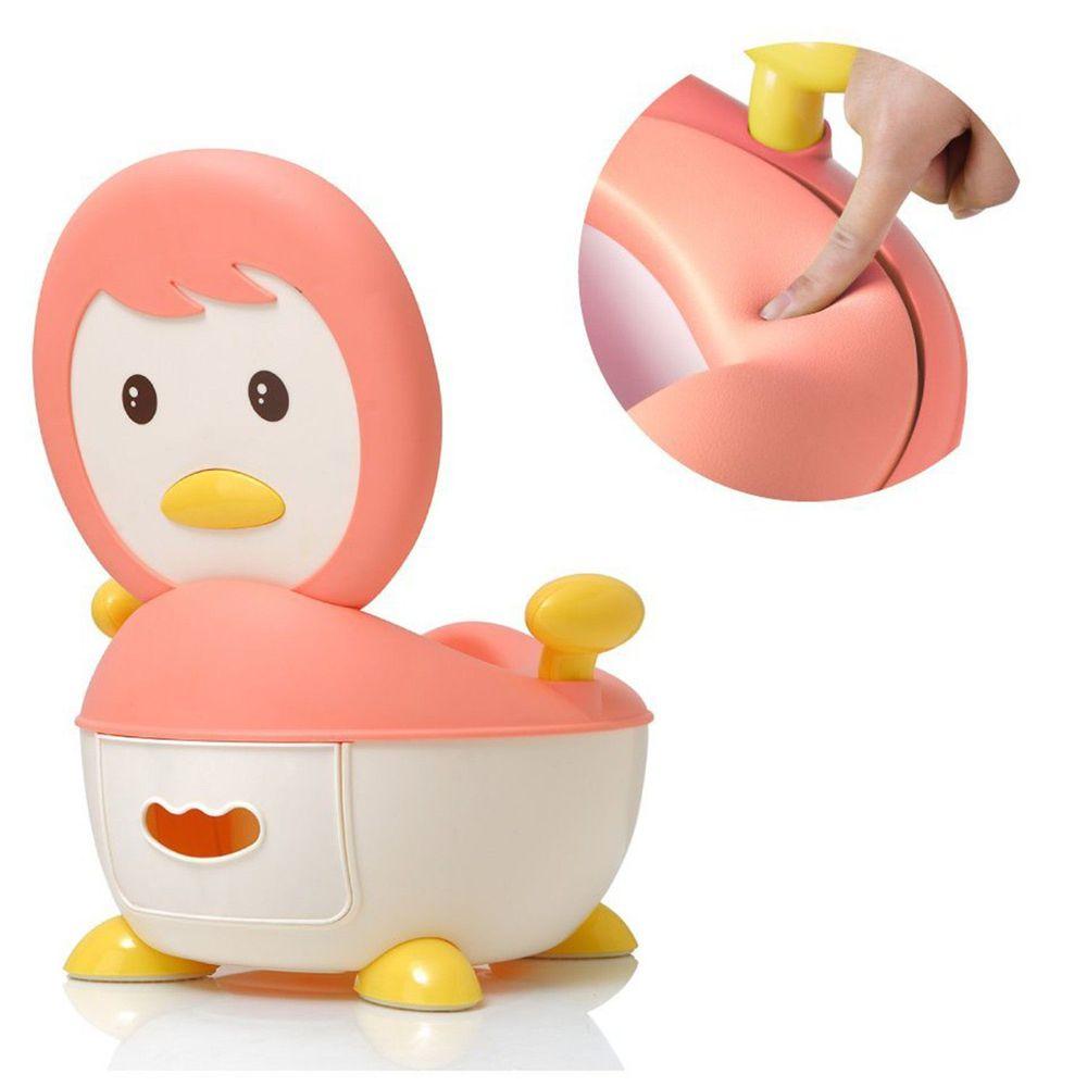 babyhood - 企鵝恆溫軟墊座便器-粉