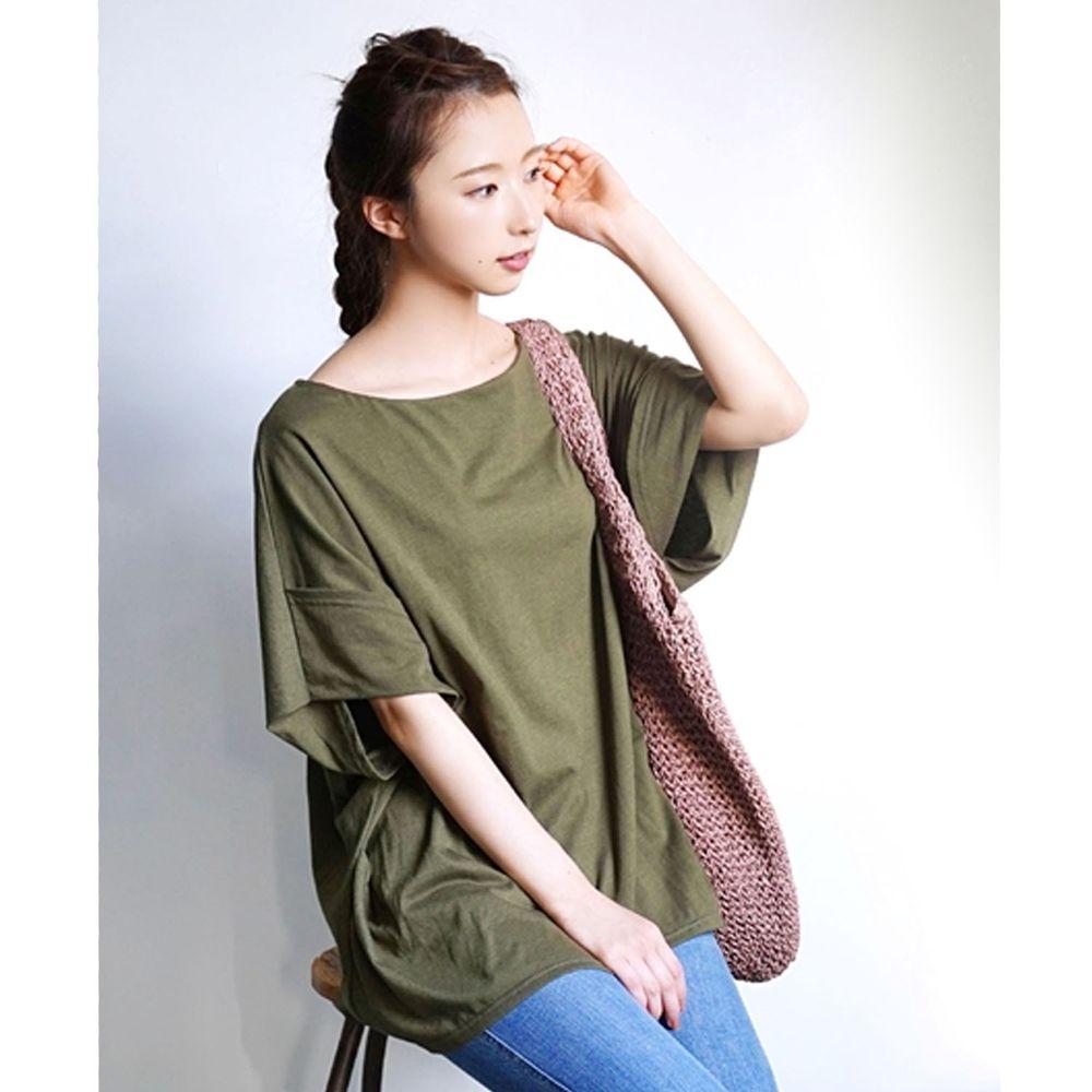 日本 zootie - Design+ 顯瘦立體感剪裁落肩五分袖上衣-墨綠