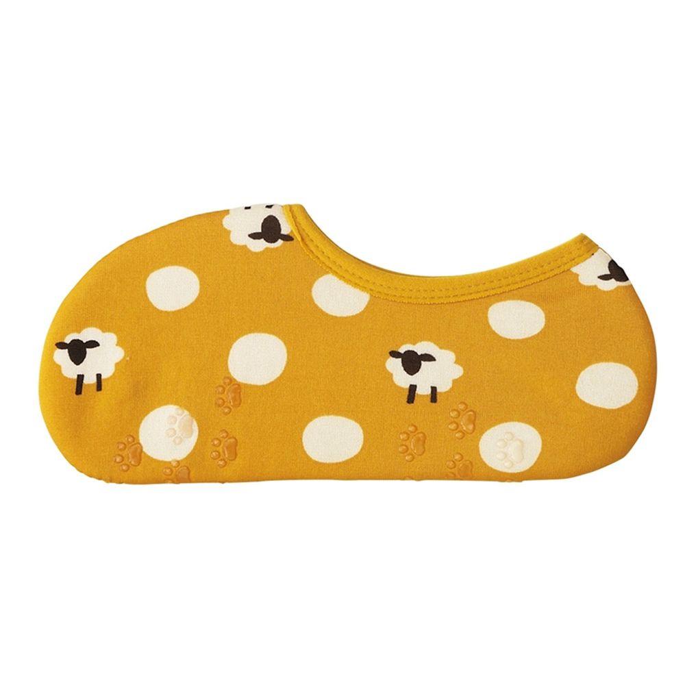 日本丸和 - 雙層機能裏起毛防滑室內襪-綿羊點點-黃 (21-25cm)-船型