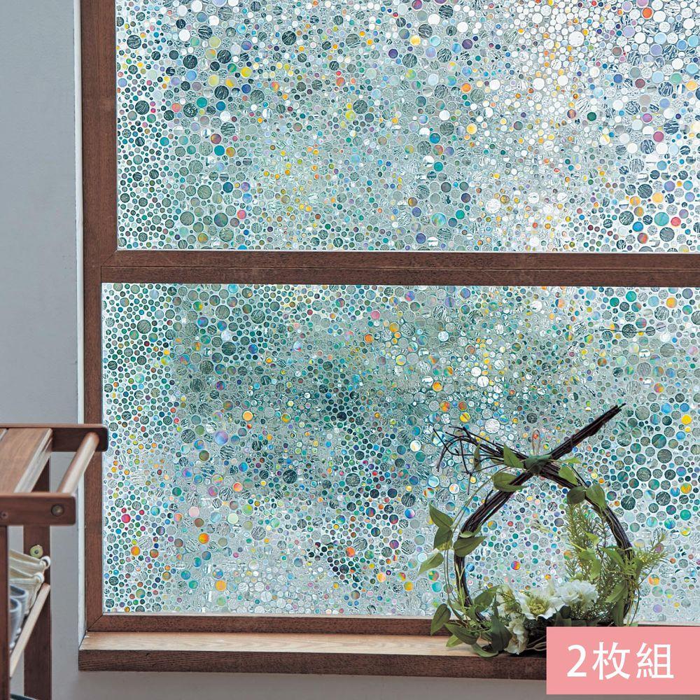 日本千趣會 - 日本製 99%抗UV光影窗貼(靜電式)-彩色波點 (92x90cm*2枚)