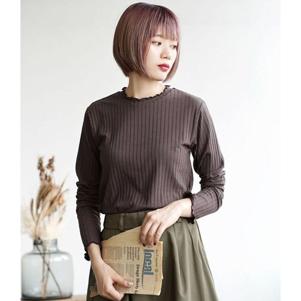 日本 zootie - 輕薄木耳邊粗羅紋貼身長袖上衣-深灰