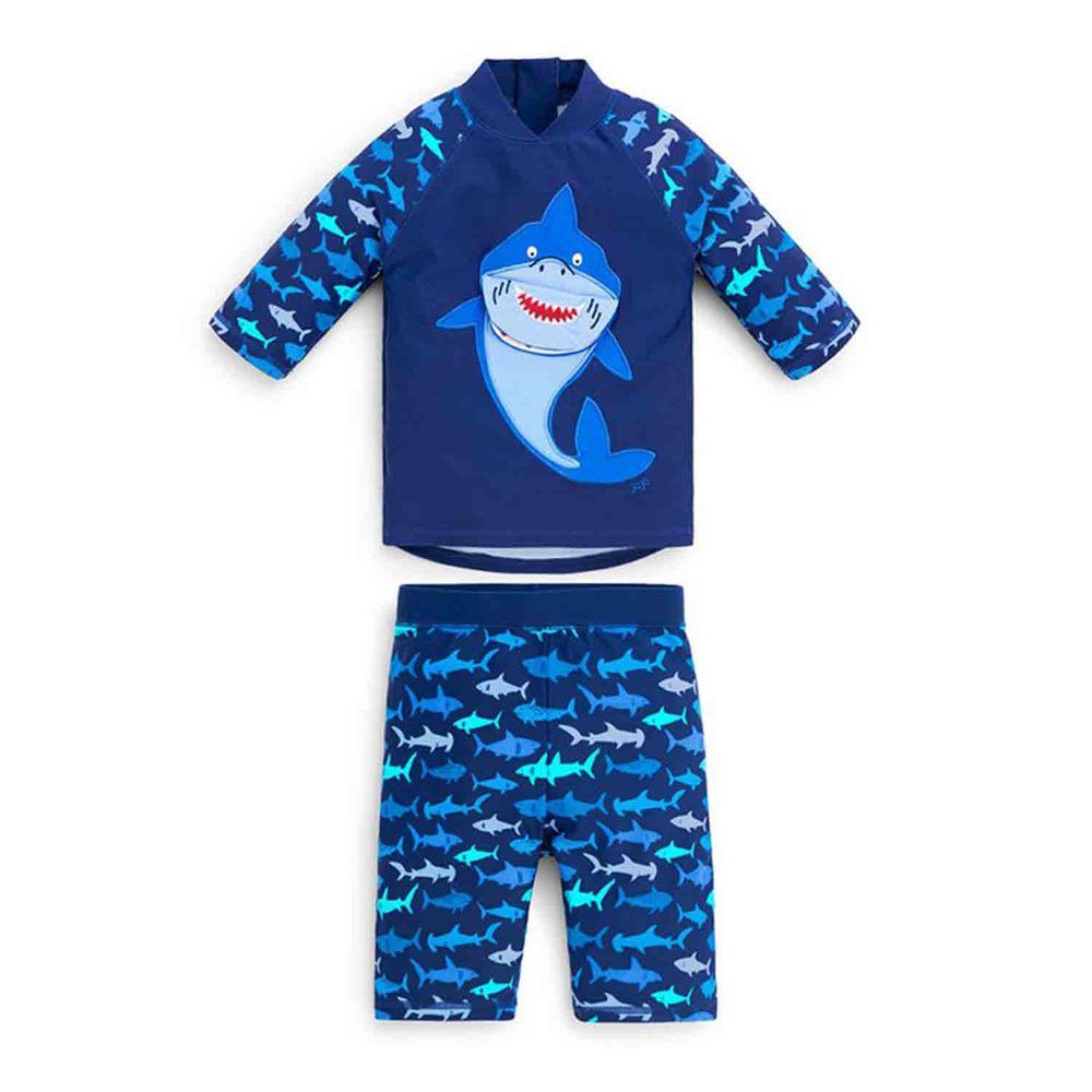 英國 JoJo Maman BeBe - 嬰幼兒/兒童兩件式防曬泳裝-鯊魚