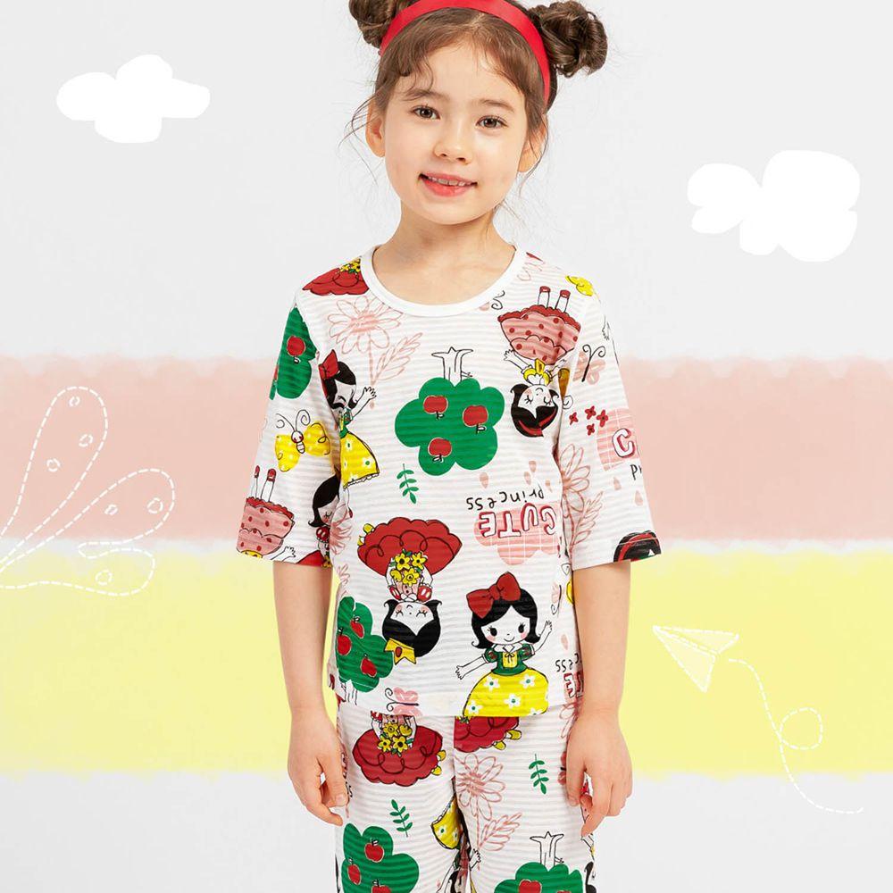 韓國 Mellisse - 韓製透氣輕薄7分袖家居服(無螢光棉)-森林女孩