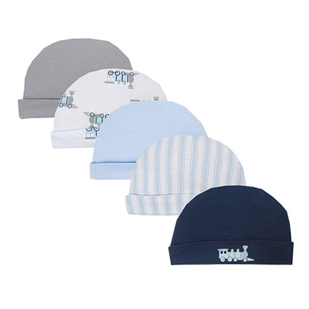 美國 Luvable Friends - 100%純棉新生兒棉帽 保暖帽5件組-條紋火車 (0-6M)
