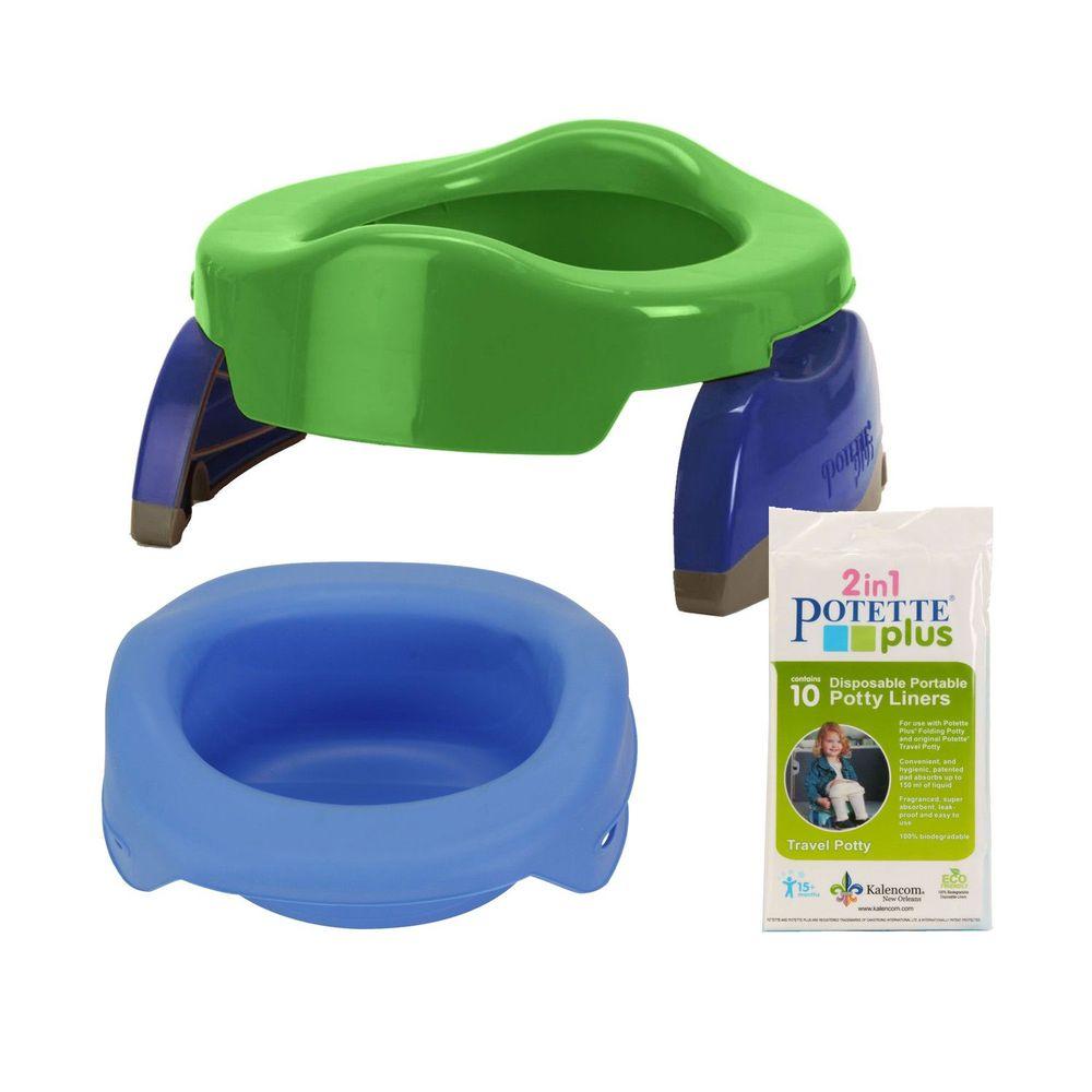美國 Potette Plus - 可攜式馬桶-綠色+摺疊式家用防漏盆-藍色+拋棄式防漏袋10入裝)