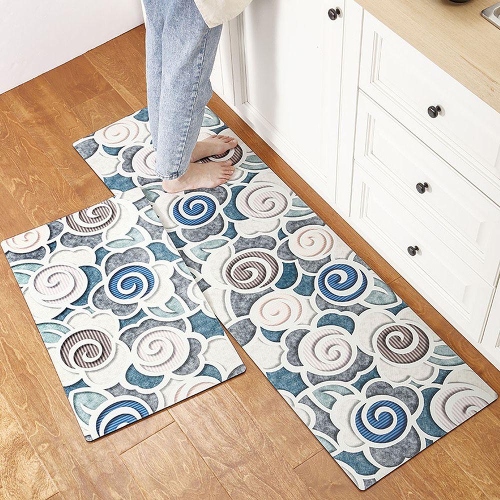 廚房仿皮革PVC防水腳踏墊-年輪
