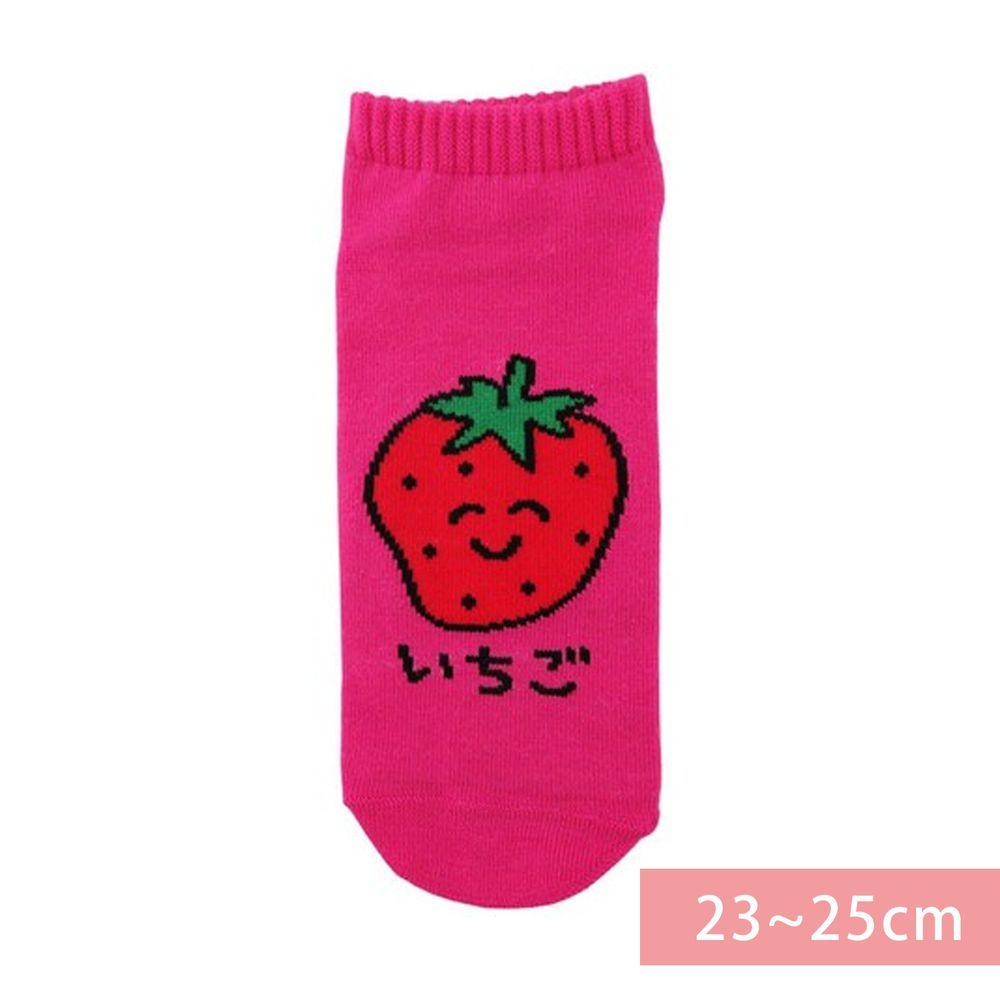 日本 OKUTANI - 童趣日文插畫短襪-草莓-粉 (23-25cm)
