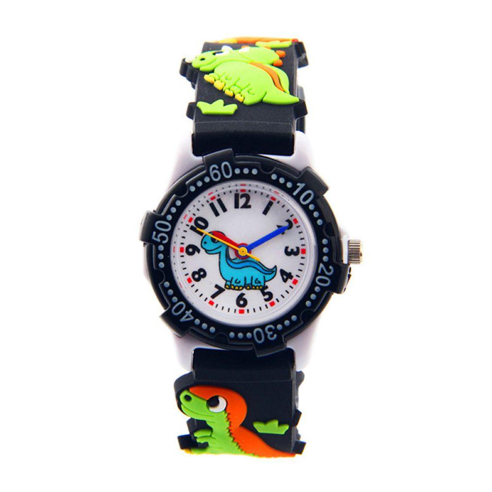 3D立體卡通兒童手錶-可旋轉錶圈-黑色恐龍
