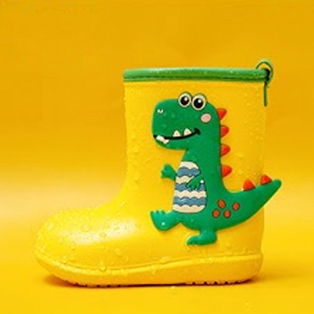 Cheerful Mario - 兒童雨鞋-黃色恐龍