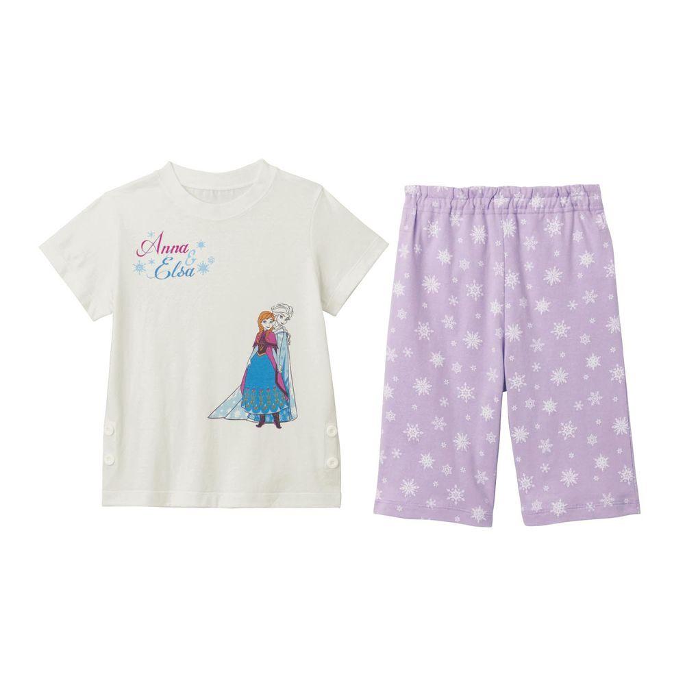 日本千趣會 - 迪士尼印花短袖家居服(夜光設計)-冰雪奇緣-紫