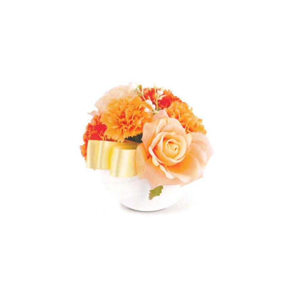 日本 KISHIMA - [母親節限定] CT觸媒 消臭仿真多肉盆栽-玫瑰與康乃馨-橘粉 (L(φ13x14cm))