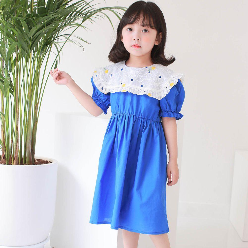 韓國 Dalla - 雕花鏤空白領洋裝-藍