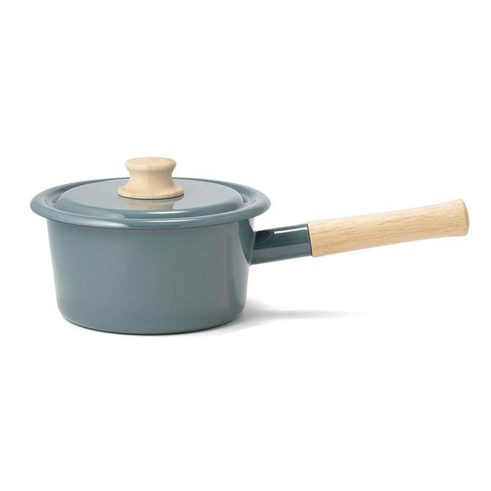 FUJIHORO 富士琺瑯 - 簡約系列-16cm單柄附蓋琺瑯調理鍋-煙霧藍-容量:1.6L 重量:1.08kg