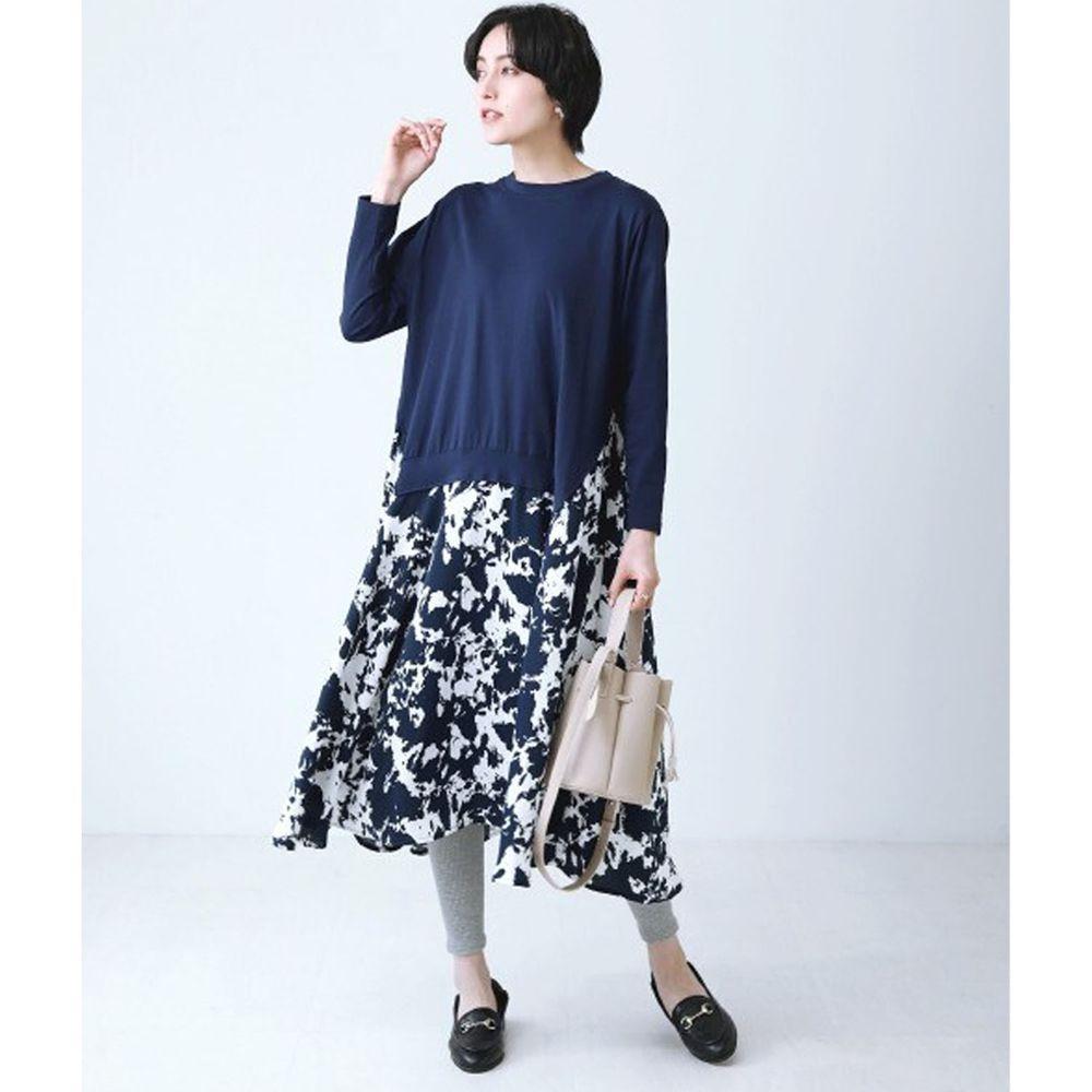 日本 Bou Jeloud - 異材質拼接不規則剪裁長袖洋裝-深藍