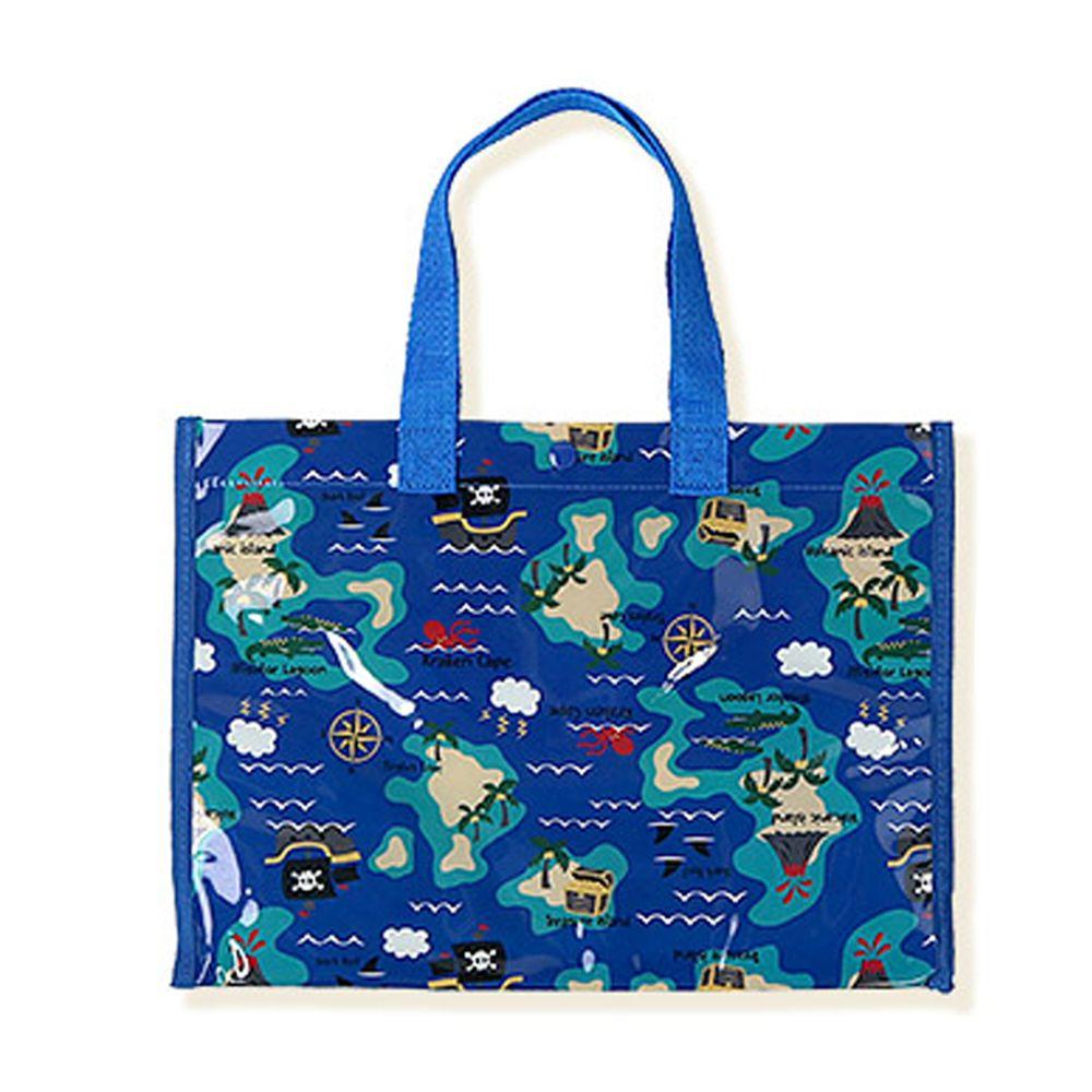日本 ZOOLAND - 防水PVC手提袋/游泳包-D海盜地圖-藍 (25x34x11cm)