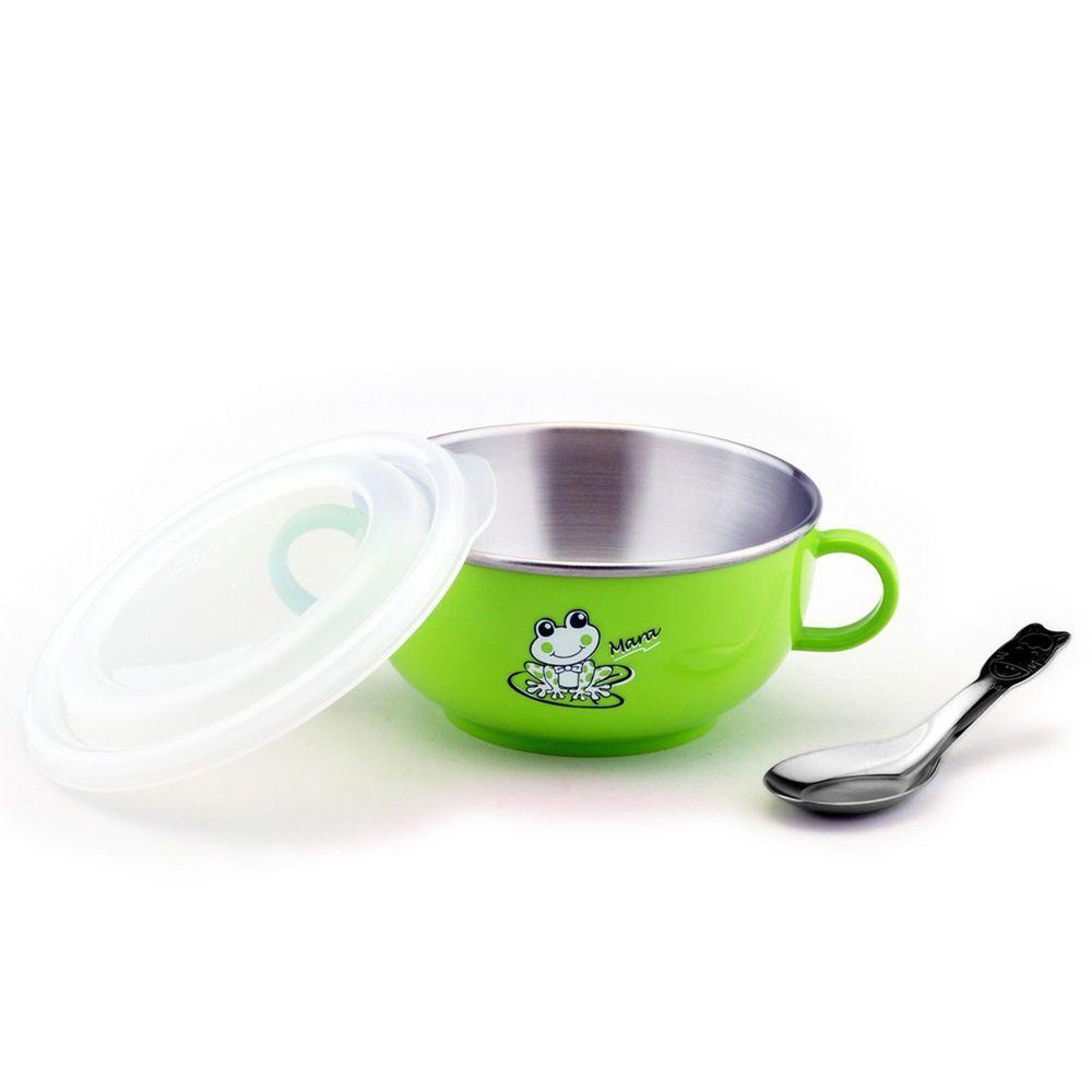 ZEBRA 斑馬 - 304不銹鋼雙耳兒童隔熱碗(附湯匙)-綠色 (11CM)-250CC