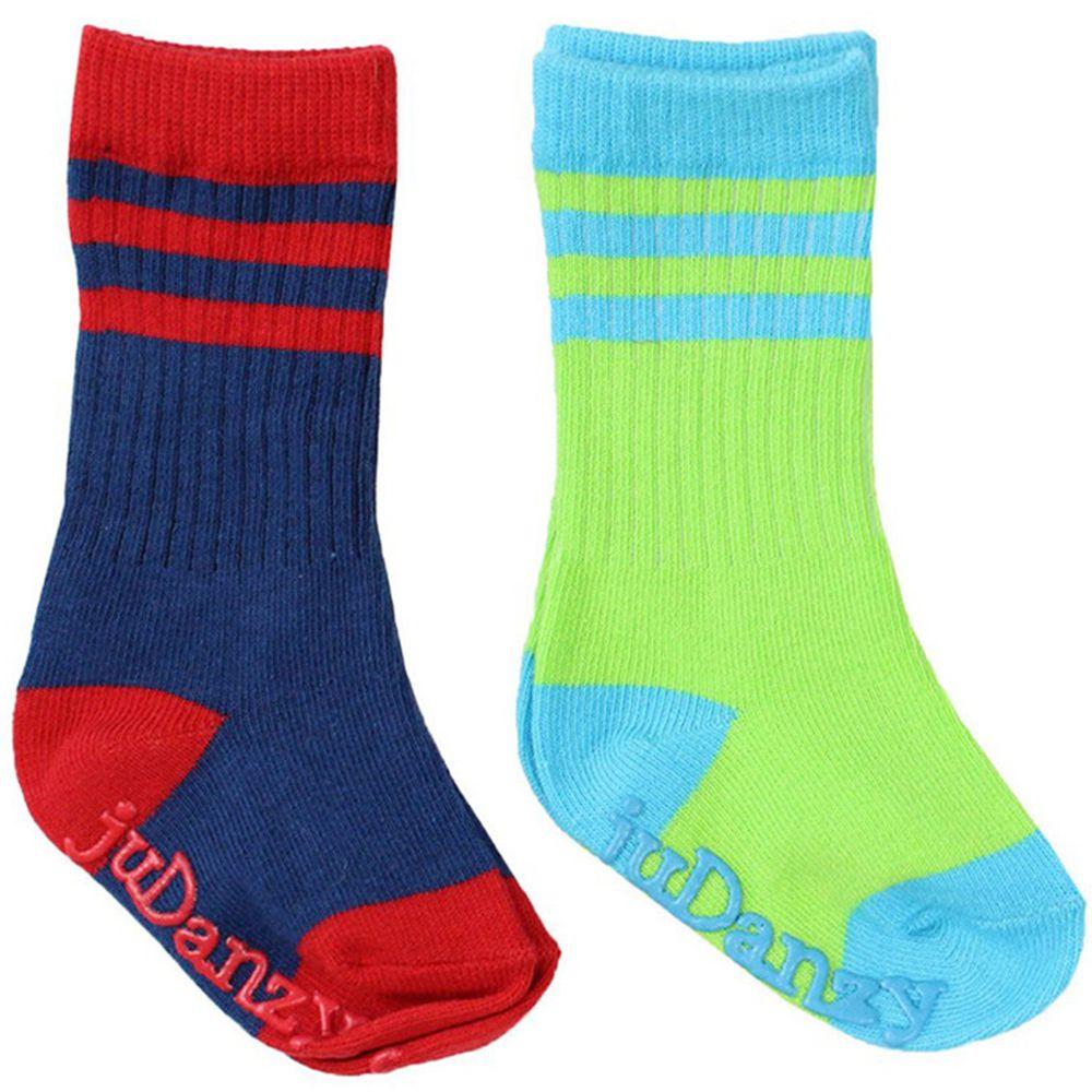美國 juDanzy - 長襪兩入組-螢光綠/深藍