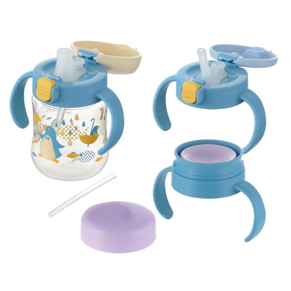 日本 Richell 利其爾 - 萌答答三階段水杯禮盒組-鴨嘴水杯、360度直飲上蓋(含墊圈)、吸管上蓋(含墊圈、吸管組/1組)-藍/黃
