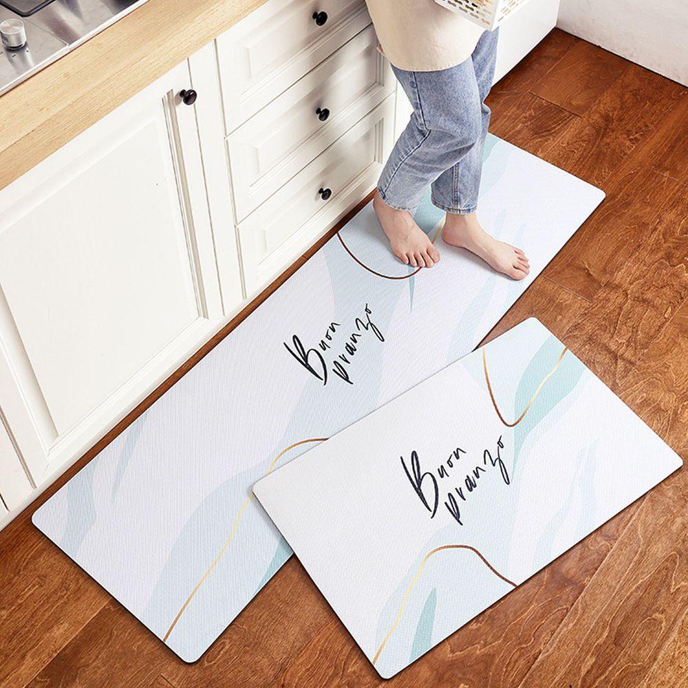 廚房仿皮革PVC防水腳踏墊-簡約英文-白色