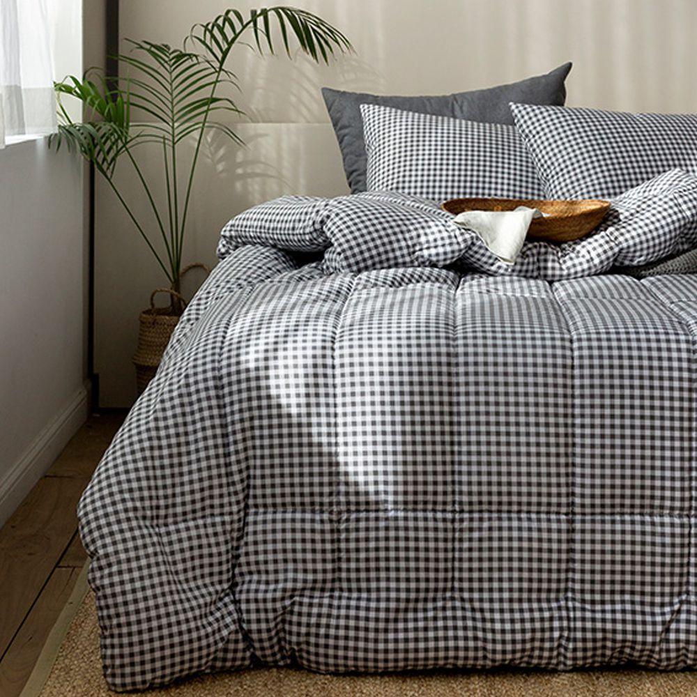 韓國製 - 可水洗超細纖維桃皮感棉被(無枕套)-深灰方塊